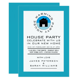 Blue House Logo, Housewarming Party, House Party Card