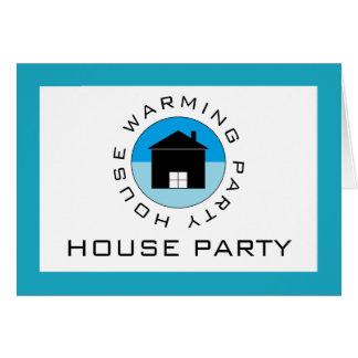 Blue House Logo, Housewarming Party Invitation