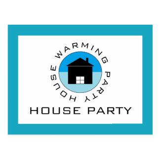 Blue House Logo, Housewarming Party Invitation Postcard