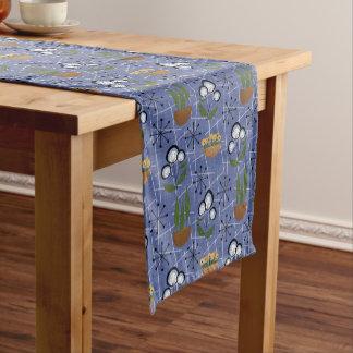 Blue, Houseplants | Mid-Century Modern Short Table Runner