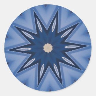 Blue Hues Starburst Round Sticker