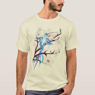 Blue Hummingbird and Cherry Blossoms T-Shirt