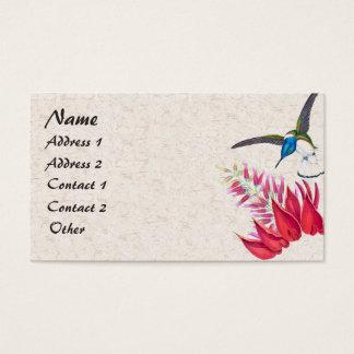 Blue Hummingbird Bird Red Flowers Business Card