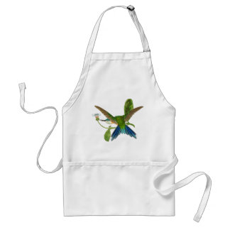 Blue Hummingbird Bird Wildlife Animal Flower Apron