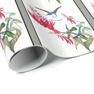 Blue Hummingbird Birds Red Flowers Wrapping Paper