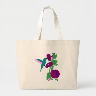 Blue Hummingbird & Morning Glory Vine Jumbo Tote Bag