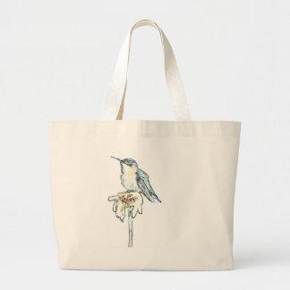 Blue Hummingbird on Shasta Daisy Jumbo Tote Bag