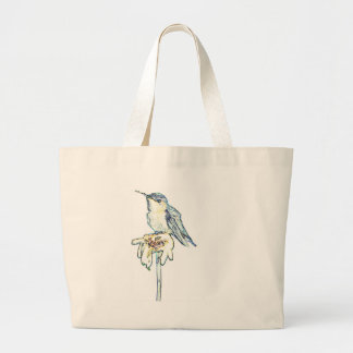 Blue Hummingbird on Shasta Daisy Large Tote Bag
