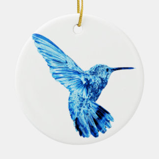 Blue hummingbird round ornament