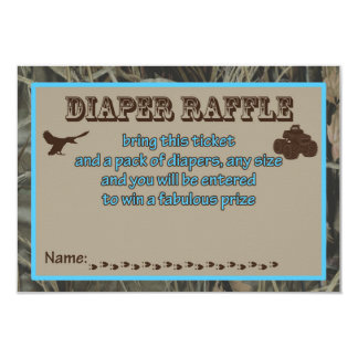 Blue Hunting Camo Baby Shower Diaper Raffle Card