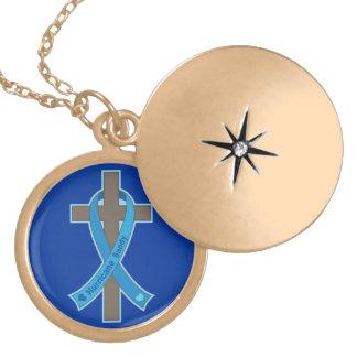 Blue Hurricane Sandy Awareness Ribbon Cross Locket Necklace