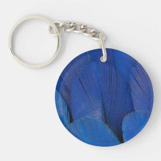 Blue Hyacinth Macaw Feather Design Double-Sided Round Acrylic Key Ring