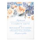 Blue Hydrangea and Peach Flowers - Floral Wedding Card