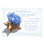 Blue Hydrangea and Seashell Bridal Shower Invitation