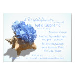 Blue Hydrangea and Seashell Bridal Shower Personalised Announcement