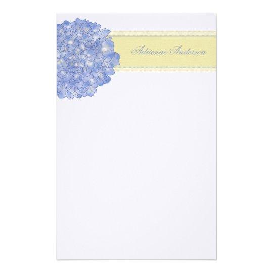 Blue Hydrangea Art Stationary Personalised Stationery