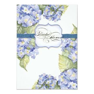 Blue Hydrangea Bracket Floral Formal Wedding Card