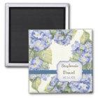 Blue Hydrangea Bracket Floral Formal Wedding Magnet