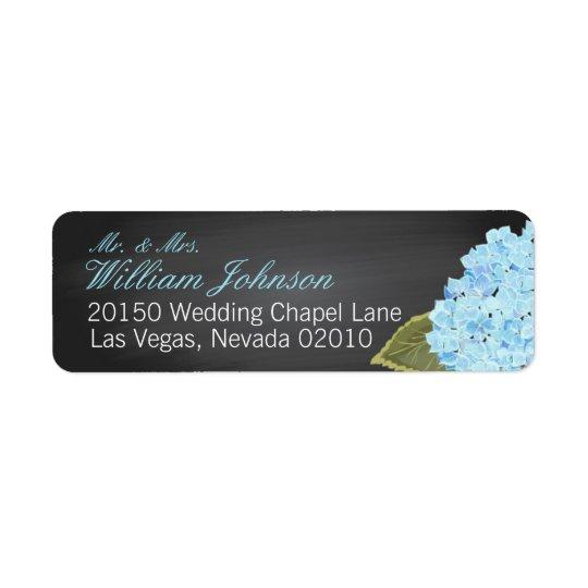 Blue Hydrangea Chalkboard Wedding Label