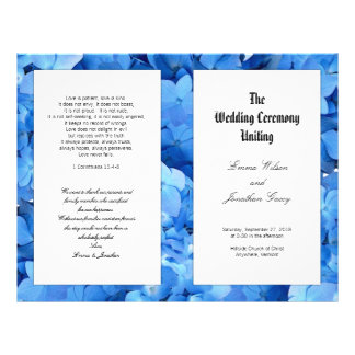 Blue Hydrangea Christian Catholic Wedding Program 21.5 Cm X 28 Cm Flyer