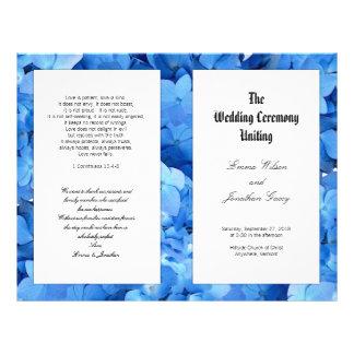 Blue Hydrangea Christian Catholic Wedding Program Flyer