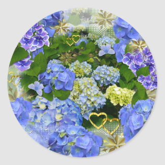 BLUE HYDRANGEA ~  Envelope Sealers/Stickers Classic Round Sticker