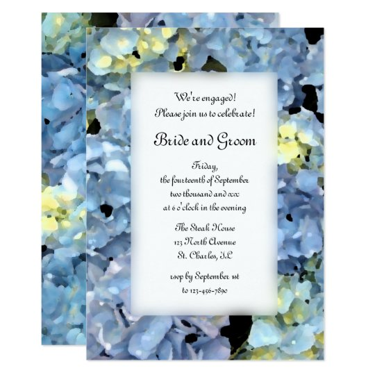 Blue Hydrangea Floral Engagement Party Invitation