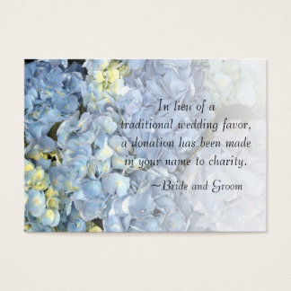Blue Hydrangea Floral Wedding Charity Favor Card