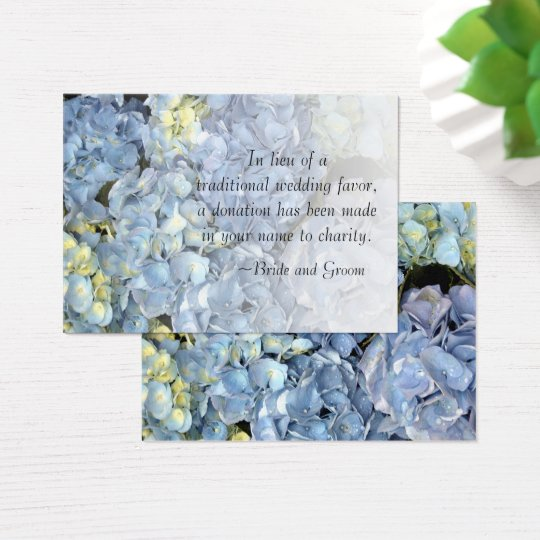 Blue Hydrangea Floral Wedding Charity Favour Card