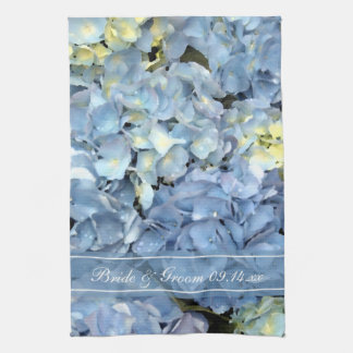 Blue Hydrangea Floral Wedding Save the Date Hand Towels