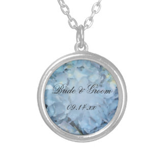 Blue Hydrangea Floral Wedding Silver Plated Necklace