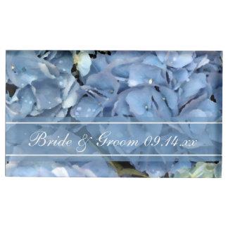 Blue Hydrangea Floral Wedding Table Card Holder