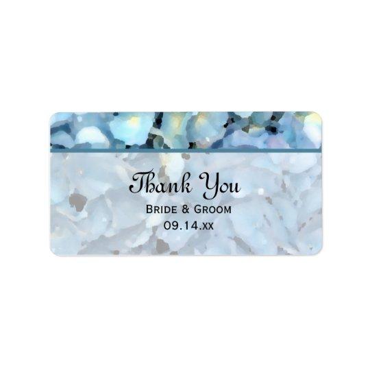 Blue Hydrangea Floral Wedding Thank You Favour Label