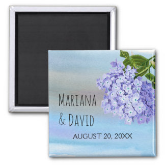 Blue hydrangea flower floral wedding Save the Date Square Magnet