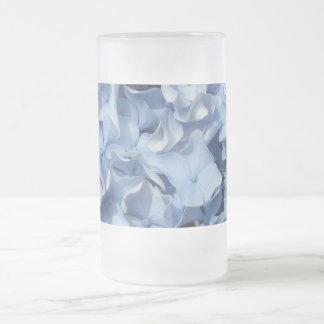 Blue Hydrangea Flower Frosted Glass Beer Mug