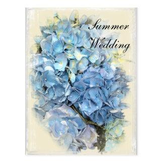 Blue Hydrangea Flower Summer Wedding Save the Date Postcard