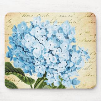 Blue Hydrangea Flower Vintage Botanical Mouse Mat