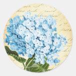 Blue Hydrangea Flower Vintage Botanical Round Sticker