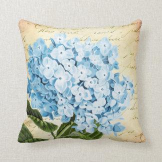 Blue Hydrangea Flower Vintage Botanical Throw Cushions