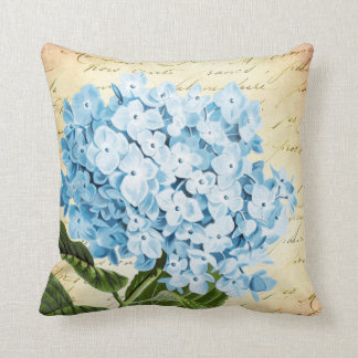 Blue Hydrangea Flower Vintage Botanical Throw Pillow