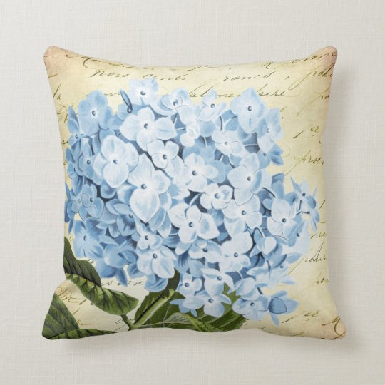 Blue Hydrangea Flower Vintage Botanical Throw Pillow