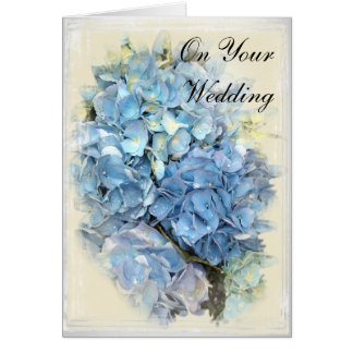 Blue Hydrangea Flower Wedding Day Card