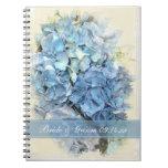 Blue Hydrangea Flower Wedding Spiral Notebook