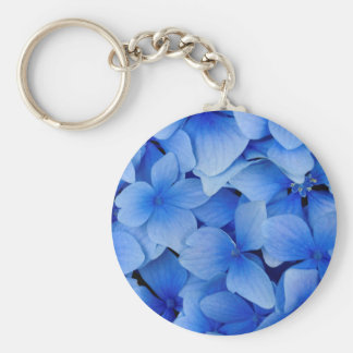 Blue Hydrangea Flowers Basic Round Button Key Ring