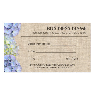 Blue Hydrangea Flowers Burlap Appointment Pack Of Standard Business Cards