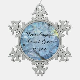 Blue Hydrangea Flowers Engagement Snowflake Pewter Christmas Ornament