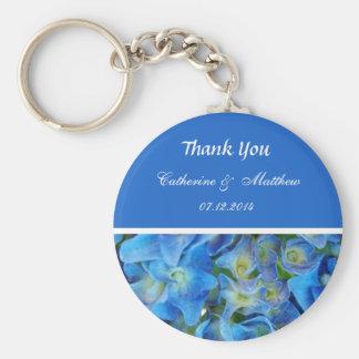 blue hydrangea flowers thank you basic round button key ring