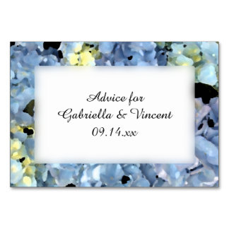 Blue Hydrangea Flowers Wedding Advice Cards