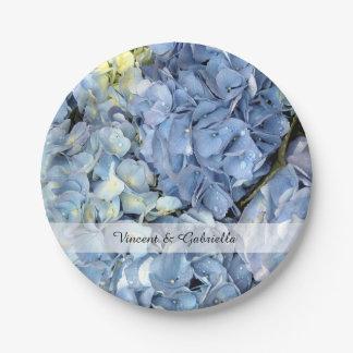 Blue Hydrangea Flowers Wedding Paper Plate