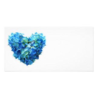 Blue Hydrangea Heart Photo Card Template